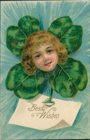Flower Face Girl - Early 1900's Best Wishes Embossed German Postcard