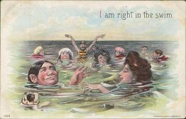 I Am Right in the Swim - Early 1900's A. S. Meeker Beach Series Comic Postcard