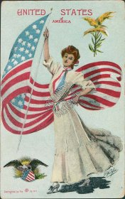 United States of America State Girl, Early 1900s G Howard Hilder Signed Postcard