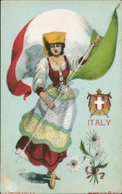 Italy State Girl w/ Flag - Early 1900's G Howard Hilder Signed Postcard