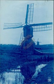 Windmill, Delft Holland - Early 1900's RP Photo Cyanotype Postcard