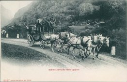 Swiss Coach / Stage Horse Drawn Wagon, Switzerland - Early 1900's Postcard