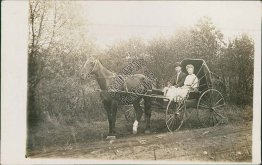 Horse Drawn Coach Wagon, Lake Red Rock, IA Iowa - Early 1900's RP Photo Postcard
