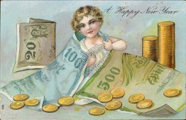 Girl w/ Money Bags, Gold Coins - Early 1900's New Year's Day Postcard