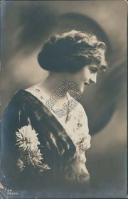 Young Woman Looking Down, Headband - Early RP Photo Postcard, Austria Stamps