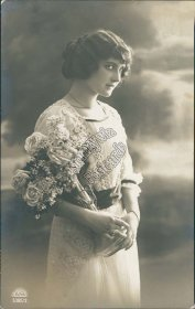 Womaning Holding Vase w/ Flowers - Early RP Photo Postcard, Austria, Stamp