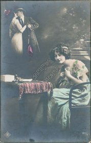 Womaning Imagining Kissing Man, Lovers Couple - RP Photo Postcard, Austria Stamp