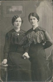 Twins, 2 Russian Women Posing in Black Dresses, Russia Real Photo RP Postcard