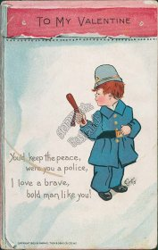 Kid Dressed as Policeman - Early 1900's E. Curtis Valentine's Day Postcard