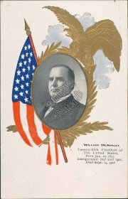 William McKinley, 25th US President Pre-1907 Embossed Postcard