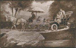 Toot N' Be Darned, Horse Drawn Wagon, Car - M. T. Sheahan Comic Postcard