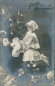 Girl w/ Toy Doll - Early 1900's Real Photo RP German Christmas Postcard