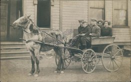 Family Riding Horse Drawn Wagon - Early 1900's Real Photo RP Postcard
