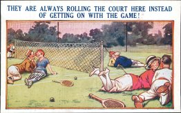 Rolling Tennis Court, Game - Early 1900's Comic Postcard