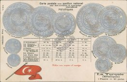 Turkish Coins, Currency Exchange Rate, Turkey - Early 1900's Embossed Postcard