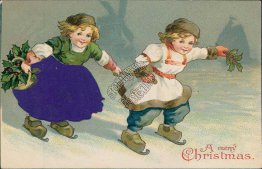 Dutch Children Ice Skating, SILK Dress / Outfit Early 1900's Christmas Postcard