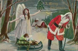 Santa Pulling Sled of Toys, Angel - Early 1900's Christmas XMAS Postcard