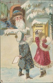 Blue Robe Santa, Kids Sending Letters 1906 TUCK Christmas Series 8619 Postcard