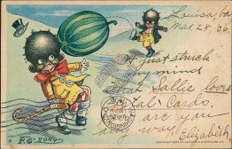 Kicking Watermelon Football - 1906 Black Americana Postcard, Louisa, VA Message