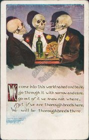 Skeletons Playing Poker - Early 1900's Death Fantasy Postcard