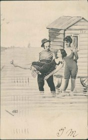Bathing Beauties, Striped Swimsuit - 1906 Postcard