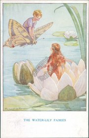 Water Lily Fairies Margaret W. Tarrant Artist Signed Early 1900's Fairy Postcard