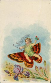 Fairy, Girl, Butterfly - Early 1900's Embossed Postcard