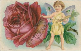 Fairy Painting Rose - Early 1900's Embossed Birthday Postcard