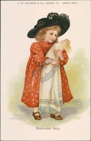 Girl w/ Baby Toy Doll, Hush-a-bye Early 1900's C. W. Faulkner Postcard