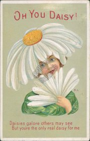 Flower Daisy Girl, Floral Face - 1913 Embossed Postcard