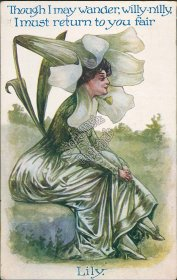 Flower Woman, Lily, Floral Face - 1910 Embossed Postcard, Philomath, OR Cancel