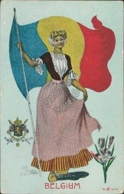 Belgium State Girl, Coat of Arms - G Howard Hilder Signed Postcard