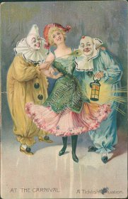 Clowns, Woman - At the Carnival - Ticklish Situation - TUCK Postcard