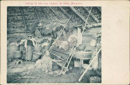 Araucanian Indian Native Hut, South America - Early 1900's Postcard