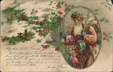Old Santa, Snow Scene 1906 Christmas XMAS Postcard